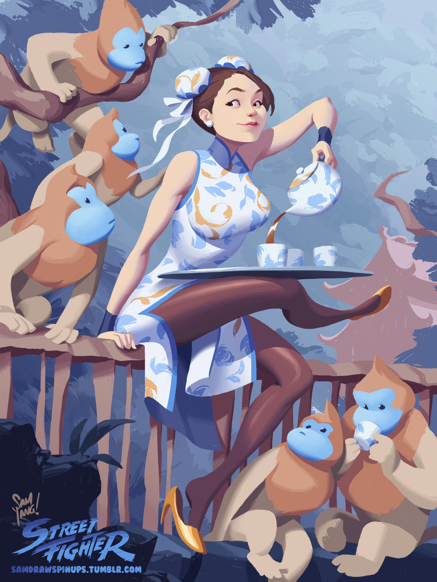 chun_li__tea__and_mon_keys_by_samyangart_d9p40za