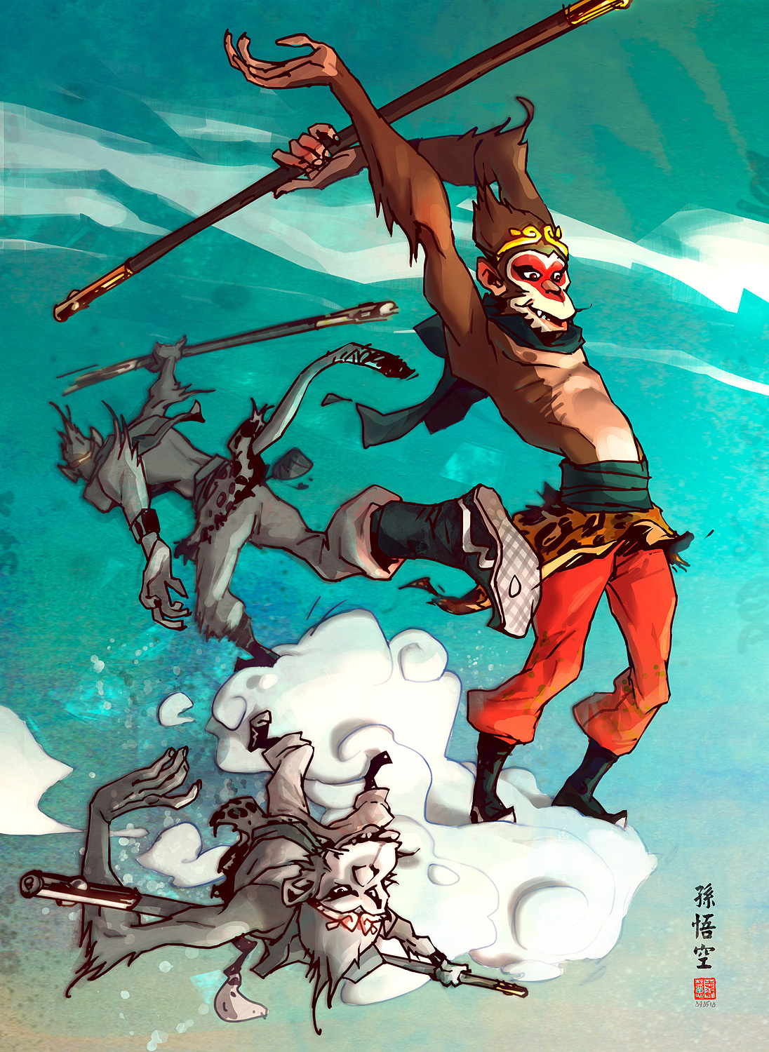 monkey_king_cloudboarding____by_barontieri_d2y8g9d
